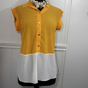 Michael Kors yellow blouse size M